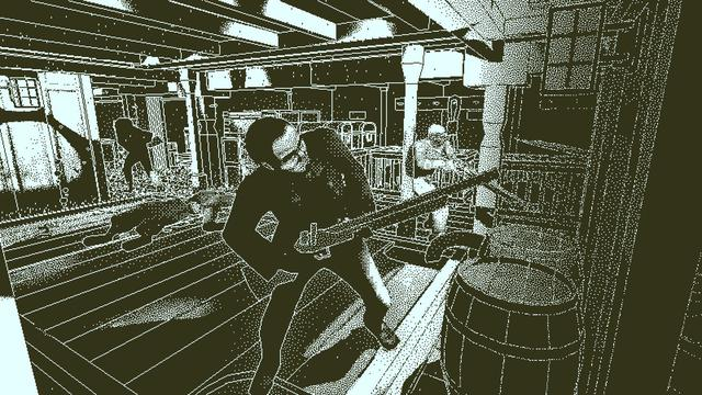 It is a puzzle video game. Return of the Obra Dinn is set aboard a fictional East India Company ghost ship in the early 1800s whose crew and passengers have all mysteriously died or disappeared, with the game's objective being to discover how. The player, as an agent of the shipping company assessing what happened, uses a combination of deductive reasoning and the use of a Memento Mortem stopwatch to return to the moment of a crew member's death to determine the identity of each of the sixty crew members, how and where they died and, if killed by human hands, the name of their killer. The game, played from the first-person view, uses a 1-bit monochromatic graphical style inspired by games on early Macintosh systems. (from Wikipedia)
