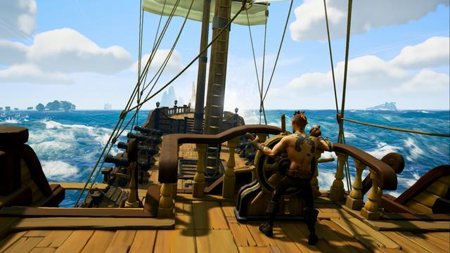 Sea of Thieves is a pirate-themed action-adventure cooperative multiplayer game played from a first-person perspective. The game features cross-platform play between Windows-based personal computers and Xbox One video game consoles. A group of players travel and explore an open world via a pirate ship and assume different roles such as steering, hoisting sails, navigation, and firing cannons. Players embark on quests, collect loot and engage in combat with other players. Sea of Thieves is a shared game world, which means groups of players will encounter each other regularly throughout their adventures. The game has a cartoonish art style and an exaggerated physics engine that allow players to perform stunts, like being shot out of ship cannons.