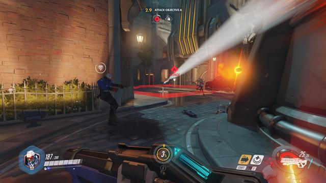 "Overwatch is an online team-based game generally played as a first-person shooter. The game features several different game modes, principally designed around squad-based combat with two opposing teams of six players each. Players select one of over two dozen pre-made hero characters from one of three class types: Damage heroes that deal most of the damage to attack or defend control points, Tank heroes that can absorb a large amount of damage, and Support heroes that provide healing or other buffs for their teammates. Each hero has a unique skill kit, defining their intrinsic attributes like health points and running speed, their primary attacks, several active and passive skills, and an ultimate ability that can only be used after it has been charged through dealing damage to enemies and healing allies. Players can change their hero during the course of a match, as a goal of Overwatch's design was to encourage dynamic team compositions that adapt to the situation. The game's genre has been described by some journalists as a ""hero shooter"", due to its design around specific heroes and classes. (from Wikipedia)"
