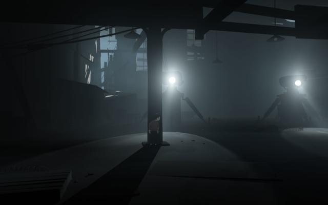 Inside is a puzzle platformer. The player character is an unnamed boy who explores a surreal and mostly monochromatic environment presented as a 2.5D platform game. The game is dark, with color used sparingly to highlight both the player and certain parts of the environment. The game is also mostly silent, with the exception of occasional musical cues, the boy's vocals, dogs barking, equipment and sound effects. The player controls the boy who walks, runs, swims, climbs, and uses objects to overcome obstacles and progress in the game. The boy gains the ability to control bodies to complete certain puzzles, a mechanic that IGN's Marty Sliva compared to a similar mechanic in The Swapper. At various points in the game, the player may discover hidden rooms containing glowing orbs. If all the orbs are deactivated during a playthrough, the player unlocks the game's alternate ending. (from Wikipedia)